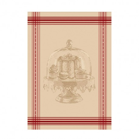French Tea towel linen / red stripes -  Gourmandise