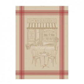 French Tea towel linen / red stripes - Le Chocolatier