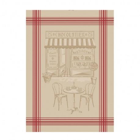 French Tea towel linen / red stripes - Le Chocolatier