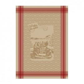 French Tea towel linen / red stripes -  Amitié