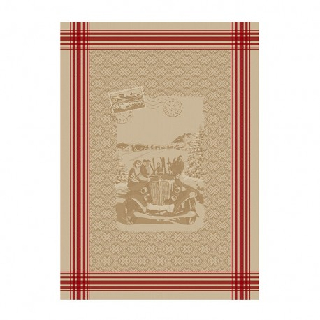 French Tea towel linen / red stripes -  Amitié