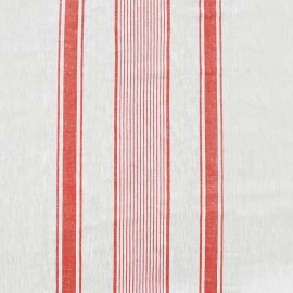 Tissu toile lin Lilly - blanc/rouge x 10cm