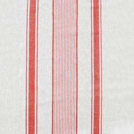 Tissu jacquard lin Lilly - blanc/rouge x 10cm