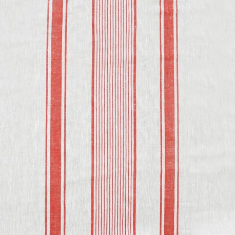 Linen jacquard fabric Lilly - white/red x 10cm