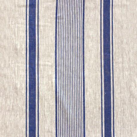 Tissu toile lin Lilly - bleu x 10cm