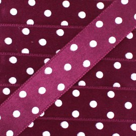 Double-sided Satin Ribbon 15mm with white polka Dots - Plum