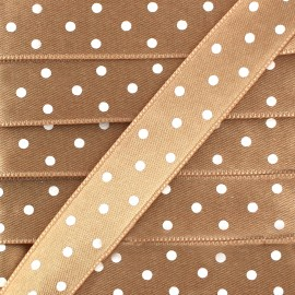 Double-sided Satin Ribbon 15mm with white polka Dots - Beige