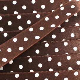 Double-sided Satin Ribbon 15mm with white polka Dots - Chocolate
