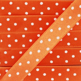 Double-sided Satin Ribbon 15mm with white polka Dots - Orange
