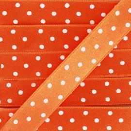 Satin double face pois orange15 mm