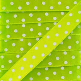 Double-sided Satin Ribbon 15mm with white polka Dots - Lime