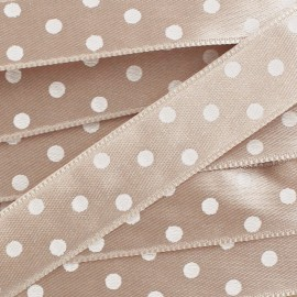 Satin double face pois taupe 15mm