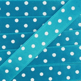 Double-sided Satin Ribbon 15mm with white polka Dots - Turquoise
