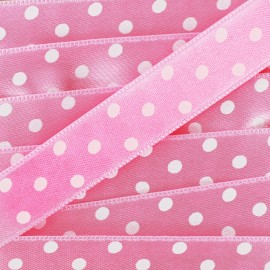 Ruban satin double face pois blancs/rose 15 mm