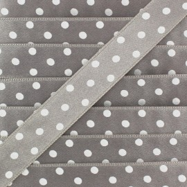 Double-sided Satin Ribbon 15mm with white polka Dots  - Grey
