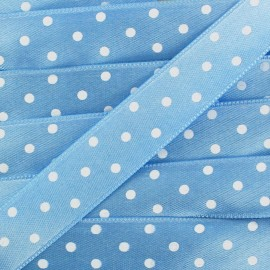 Double-sided Satin Ribbon 15mm with white polka Dots - sky blue