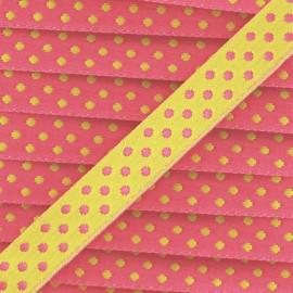 Satin Ribbon with polka dots, Eloïse 10mm - Pink/Lime