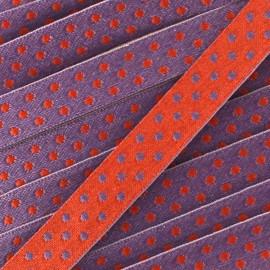 Ribbon with dots, Eloïse 10mm - burgundy