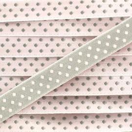 Ribbon with polka dots, Eloïse 10mm - Pink/Grey