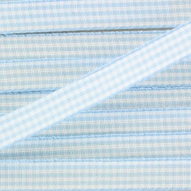 Gingham Ribbon 10mm - sky blue