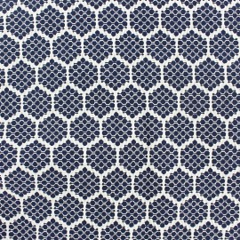 Stretch jacquard fabric Alvéole - night blue x 10cm