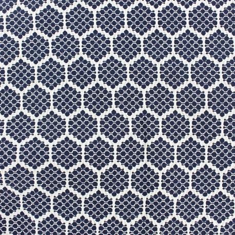 Stretch jacquard fabric Alvéole - night blue x 10cm