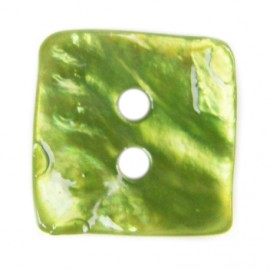 Button, mother-of-pearl square-shaped - green