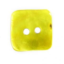 Bouton nacre carré jaune