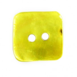 Button, mother-of-pearl square-shaped - yellow