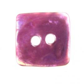 Bouton nacre carré prune