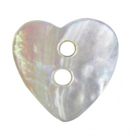 Mother-of-pearl button, heart-shaped - natural