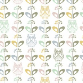 Tissu Jersey Mme Hibou au jardin scandinave x 10 cm