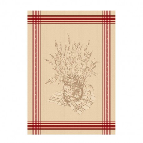 French Tea towel linen / red stripes -  Manosque