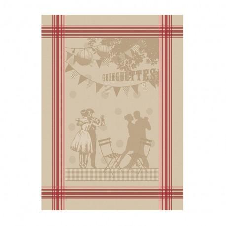 French Tea towel linen / red stripes - La guinguette