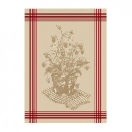 French Tea towel linen / red stripes - Le fraisier