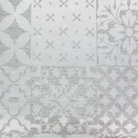 Tissu jacquard Pise - gris/blanc x 35cm