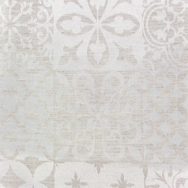 Tissu jacquard Pise - lin/blanc x 35cm