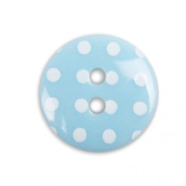 button with white polka dots - sky blue