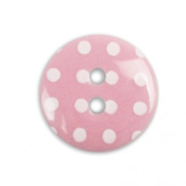 button with white polka dots - pink