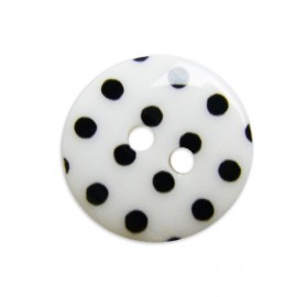 Button with black polka dots - white