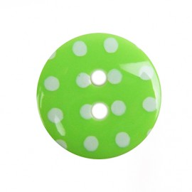button with white polka dots - green