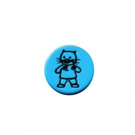 Bouton rond chat bleu