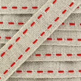 Sewing Braid Trimming 16mm Natural - red