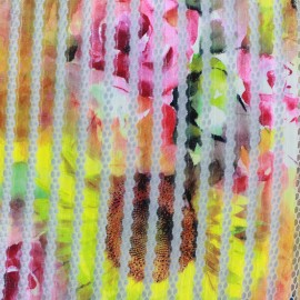 Tissu matelassé résille Tournesol - multi x 10cm