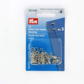 12 hooks and eyes size n°3 - nickel-plated
