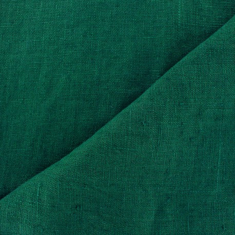 Thevenon washed Linen Fabric - bottle green x 10cm