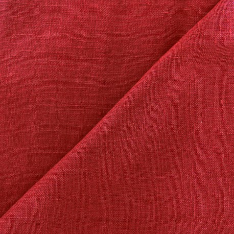 Thevenon washed Linen Fabric - burgundy x 10cm