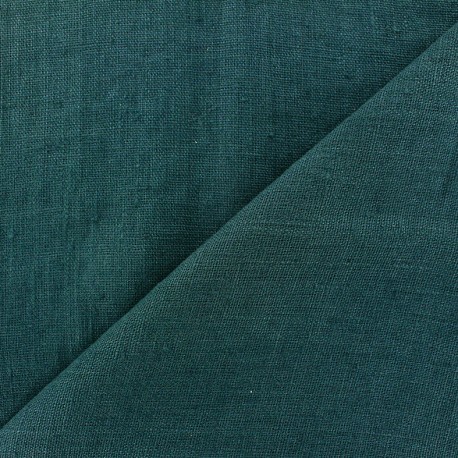 Thevenon washed Linen Fabric - peacock blue x 10cm
