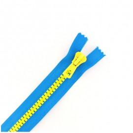 Fermeture Eclair® synthétique bicolore séparable - bleu électrique / jaune -