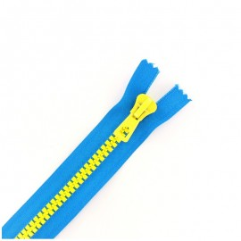Synthetic moulded two-tone open-end zip - blue / yellow